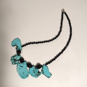 Black & turquoise nugget necklace